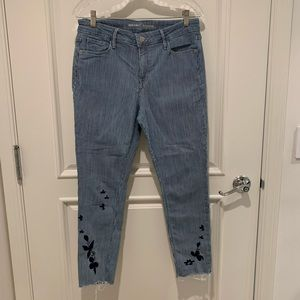 Old Navy blue and white striped rockstar jeans